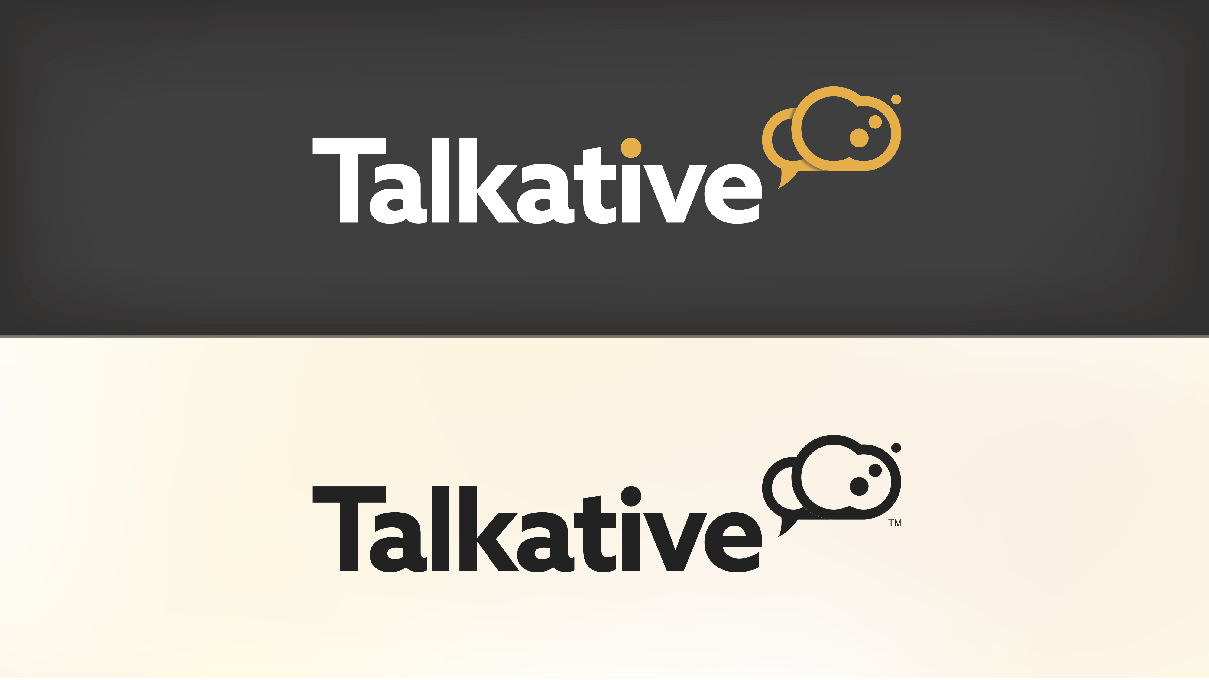 Talkative logo on different coloured backgrounds