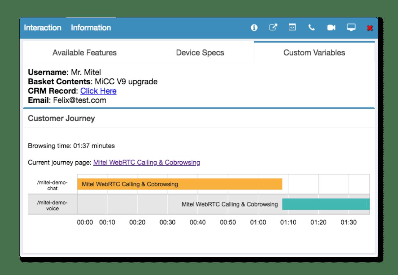 Customer journey tracking screenshot