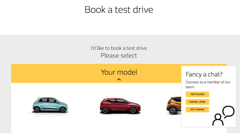 Talkative live chat widget car dealership website