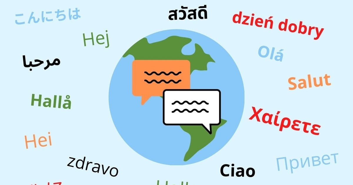 Globe with 'hello' in different languages