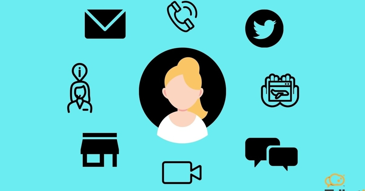 Icon of girl surrounded by contact channels
