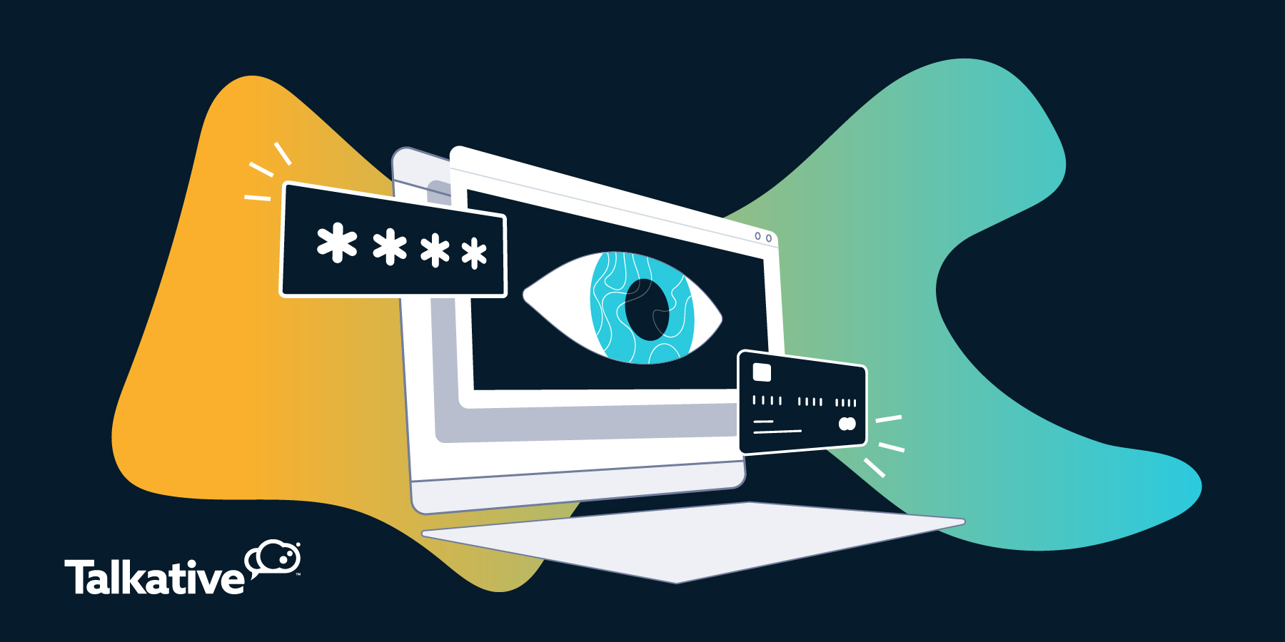 Screen with eye, password and credit card