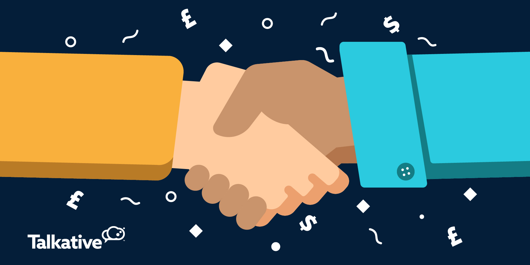 Customer and business shaking hands