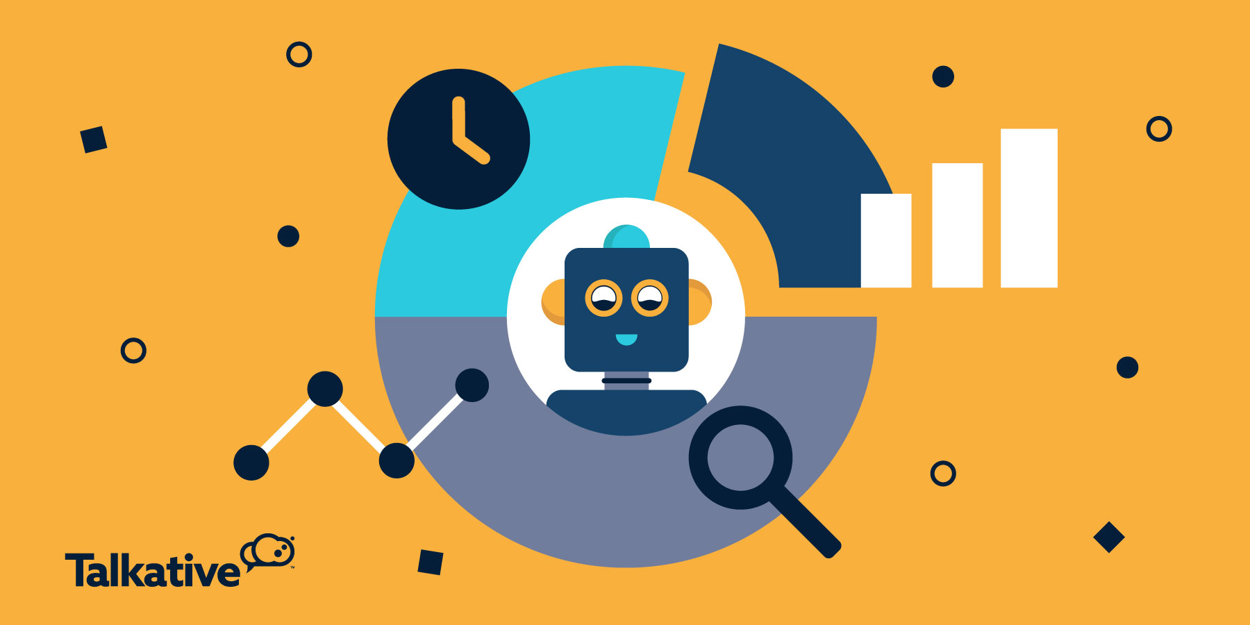 chatbot with graph, clock, magnifying glass