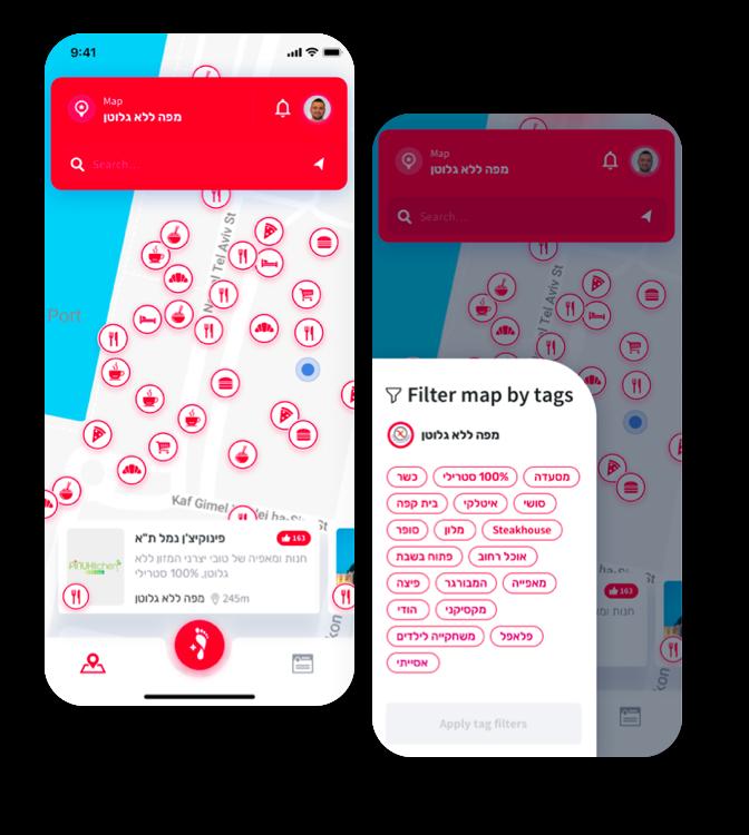 מפה קהילתית ללא גלוטן - STEPS App