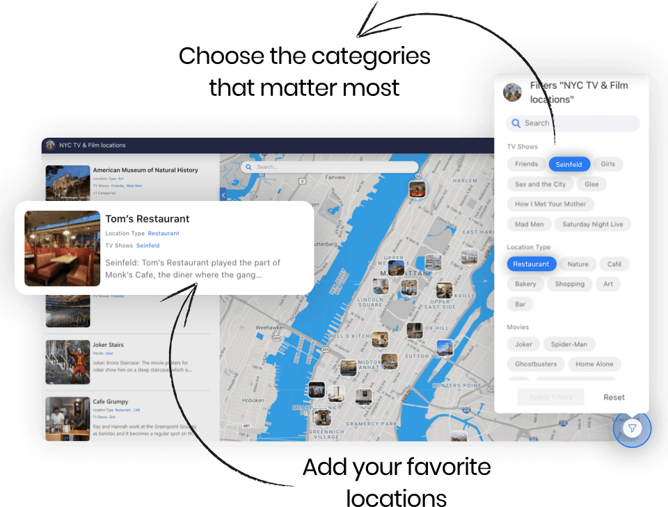 map desktop mockup - Add your favorite location, Choose the categories that matter most