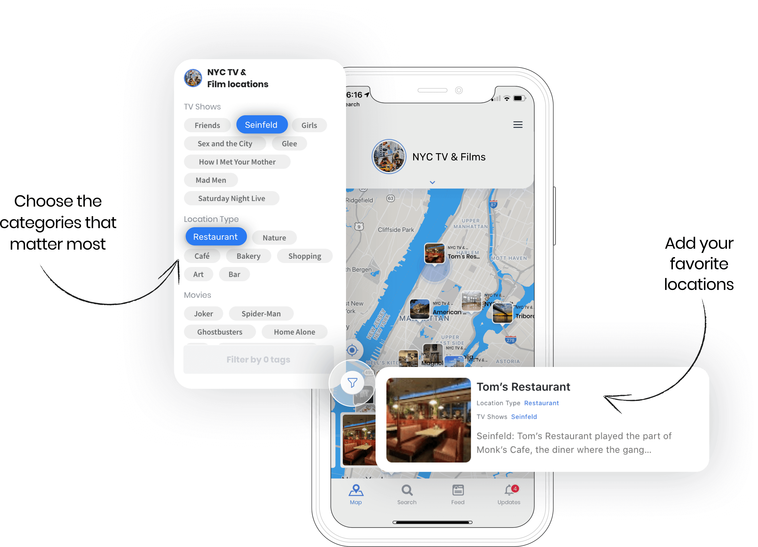 map app mockup - Add your favorite location, Choose the categories that matter most