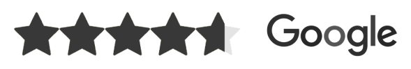 5 stars and google logo in greyscale
