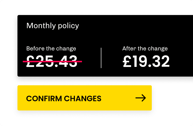 modal showing price reduction when changing the policy