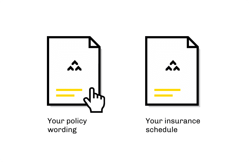 modal showing a choice of policy wording and insurance schedule