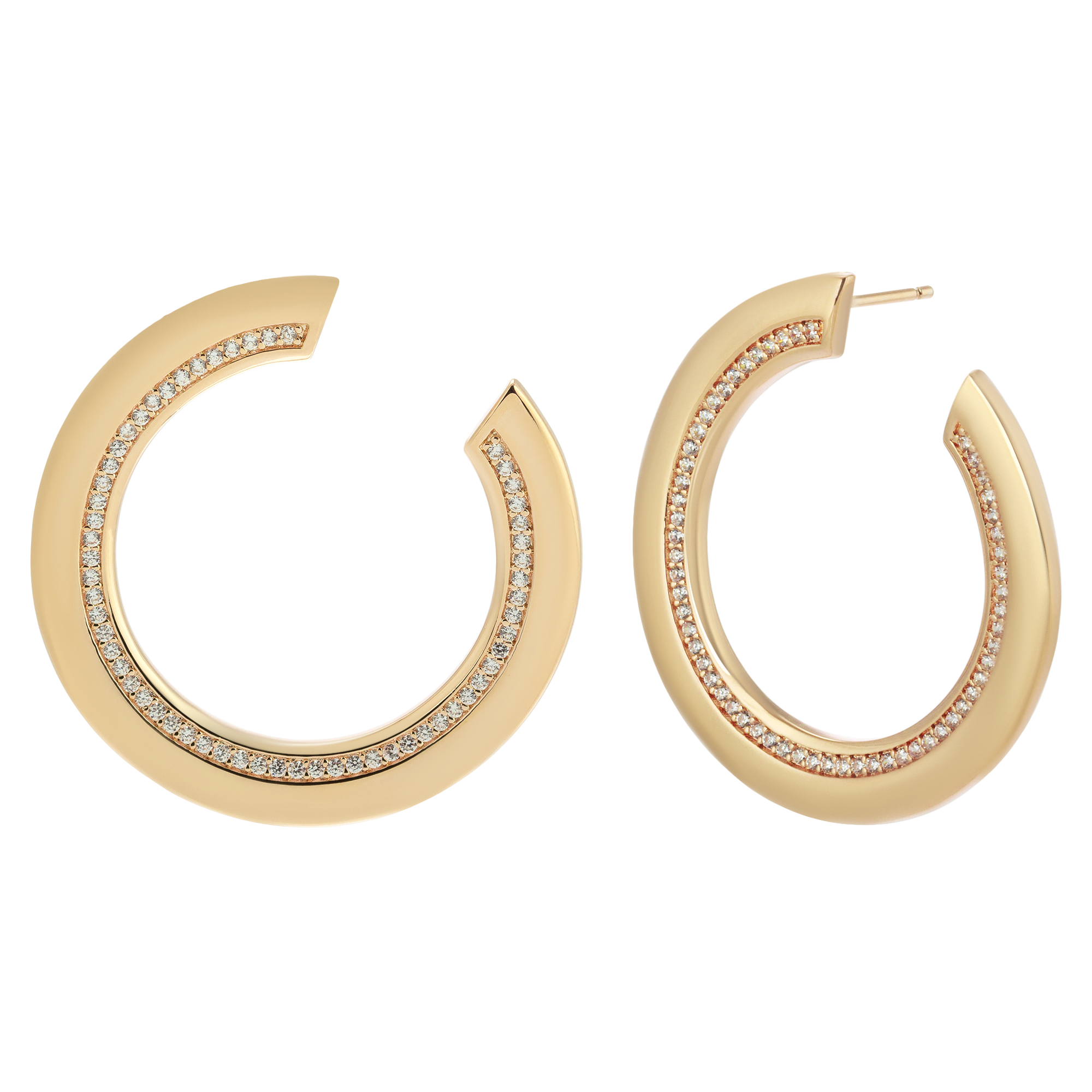 Golden diamond hoops product photography