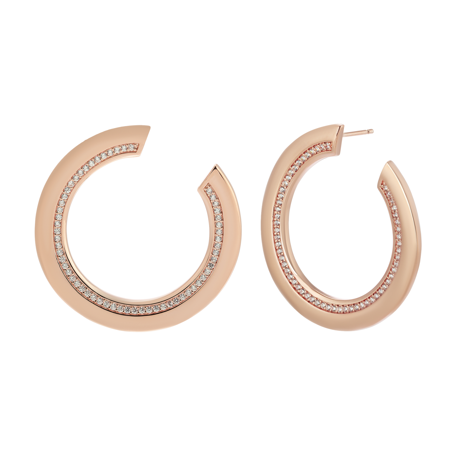 Rose gold earrings product photography