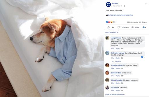 Facebook ads example Casper