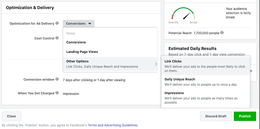 Setting Facebook Ad Optimization and Delivery
