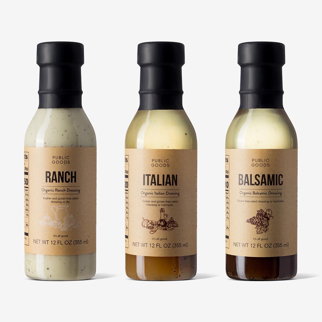 Public goods organic dressing set ranch italian balsamic