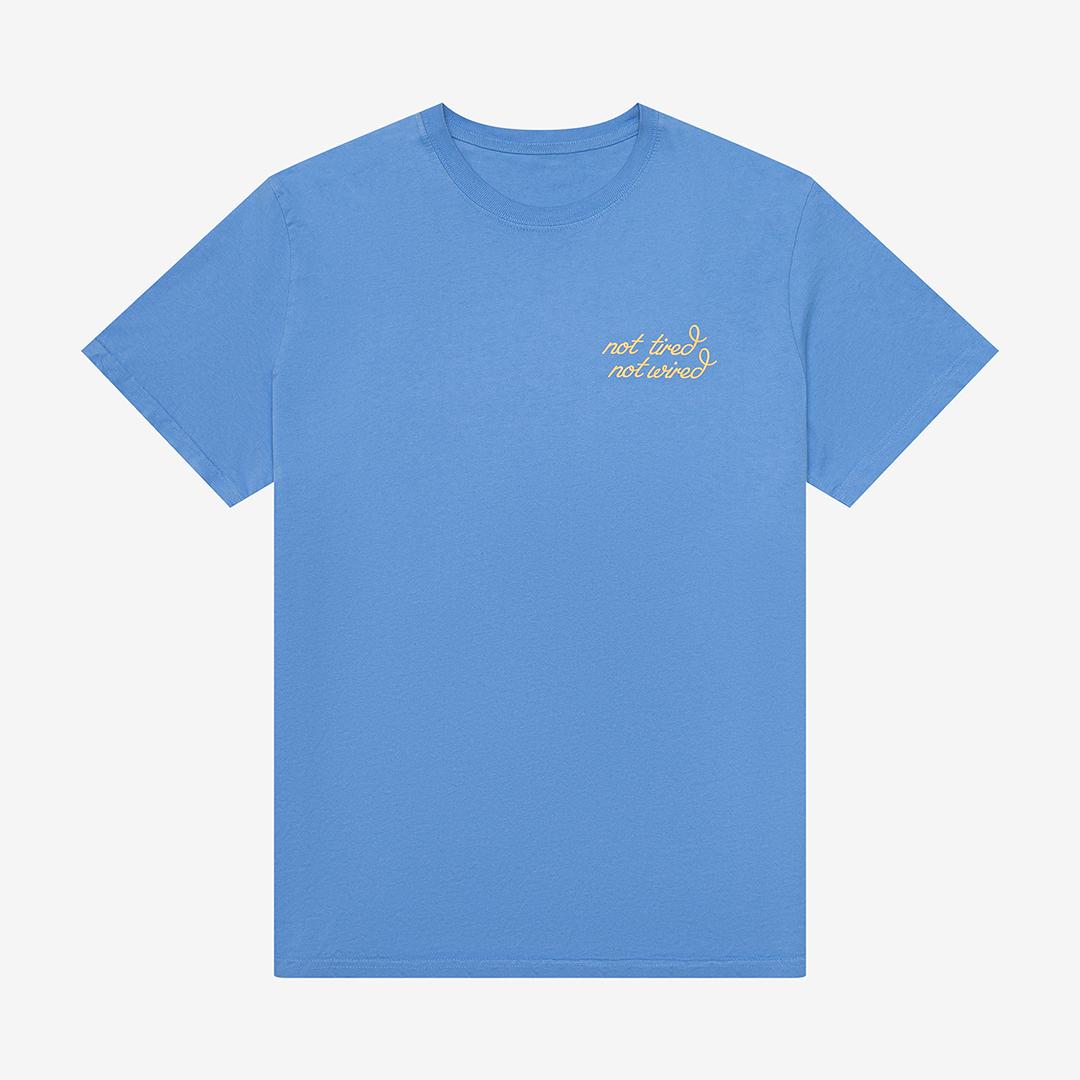 Flat lay blue t-shirt