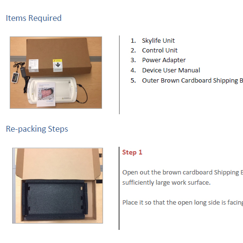 Skylife Phototherapy System packaging