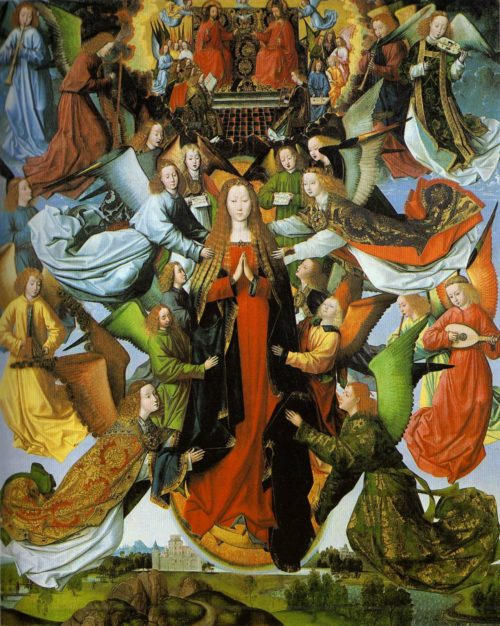 Maria reina del cielo, angeles alrededor