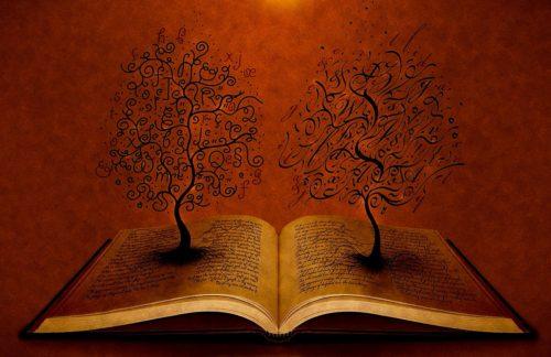 biblia-con-dos-arboles-en-las-paginas
