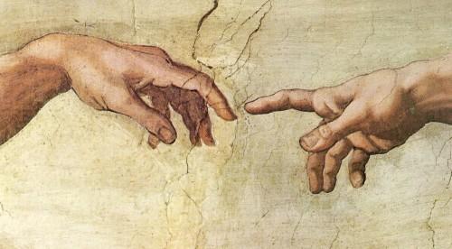 manos que se tocan dios y el hombre fondo