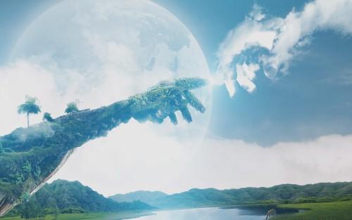 manos en el cielo dios y hombre fondo