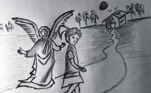 dibujo de angel guardia fondo