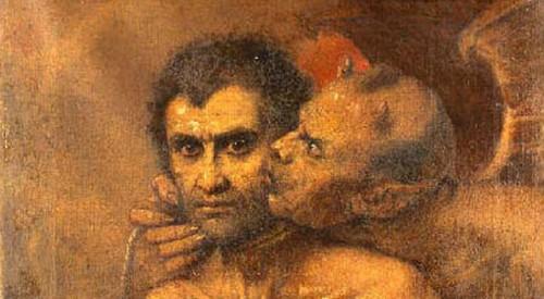 demonio habla a un hombre