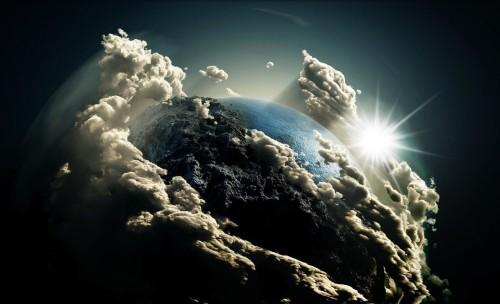 mundo cubierto con nubes fondo