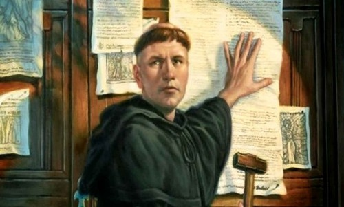 martin lutero clavando sus tesis