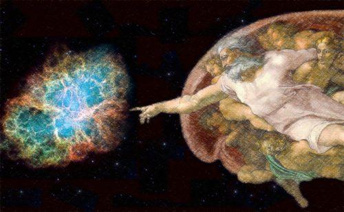 Dios tocando la galaxia