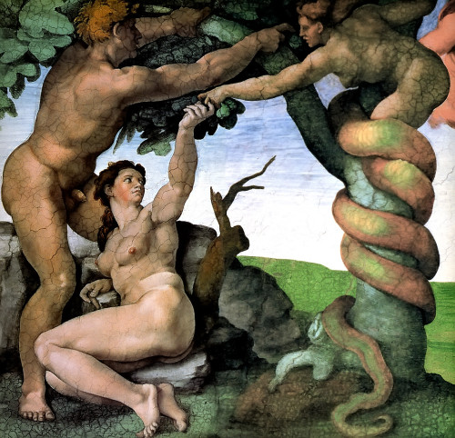 Adam and Eve in the Garden by Michelangelo