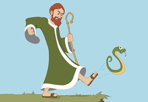 san patricio expulsa a las serpientes de irlanda