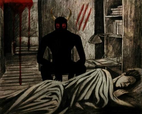 demonio y mujer que duerme