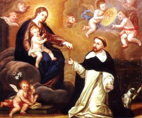 maria entrega el rosario a santo domingo
