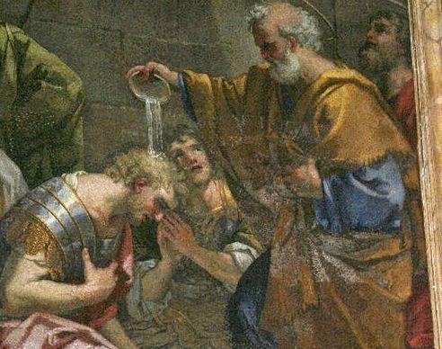 san pedro bautiza a Proceso y Martiniano