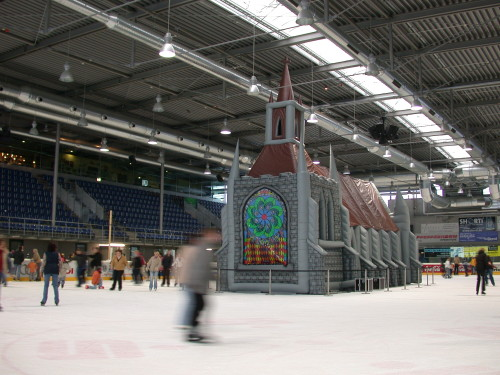 pista de patin e iglesia inflable
