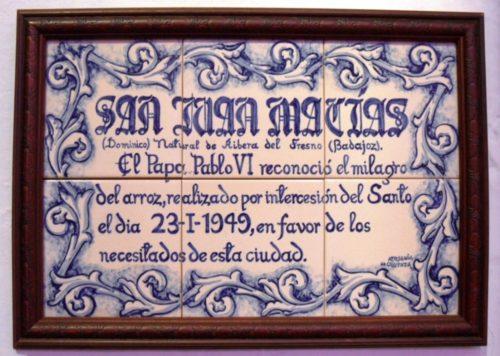 placa sobre el milagro del arroz de olivenza