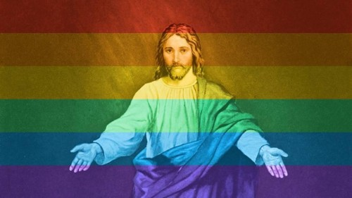 jesus con bandera gay