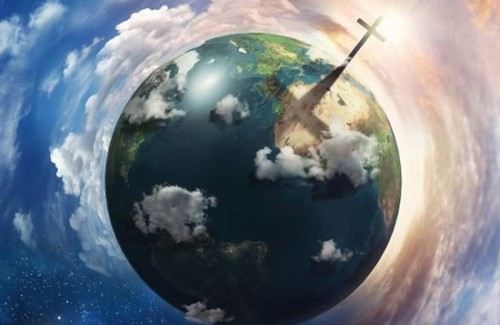 globo terraqueo con una cruz de cristo
