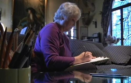Nancy Smiley dibujando lo que vio
