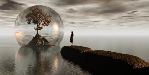arbol en burbuja una mujer
