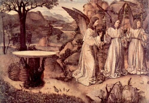abraham servido por tres angeles fondo