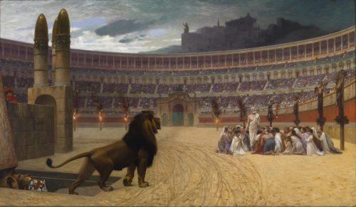 cristianos comidos por leones en el coliseo romano fondo