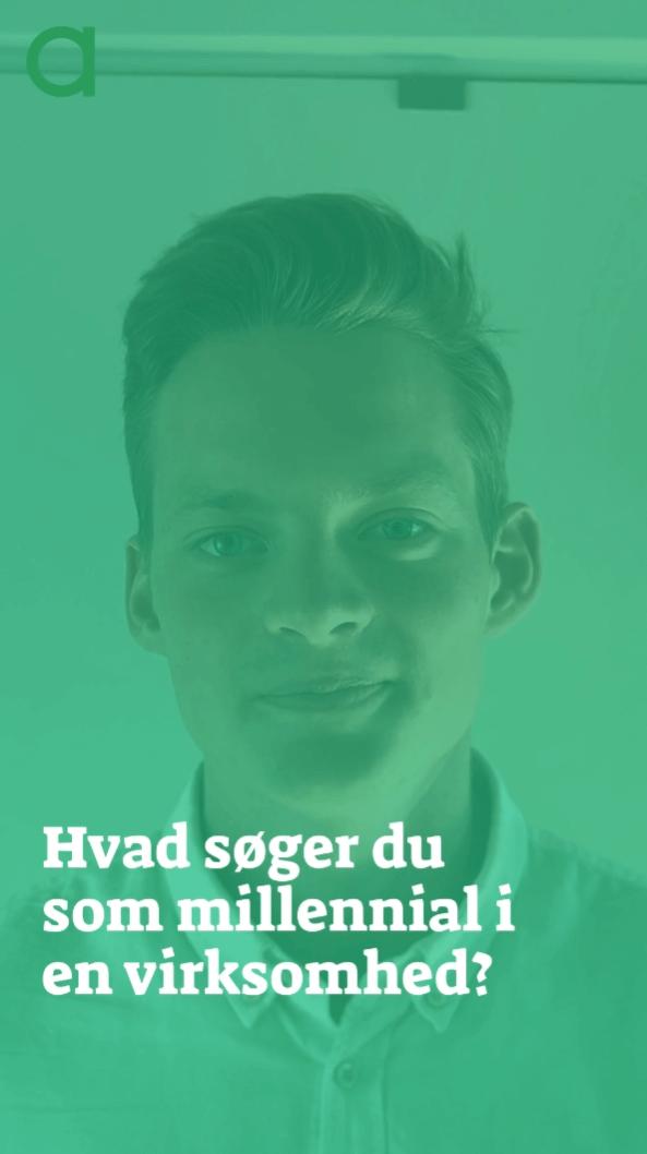 """Billede af Frederik Bybæk der står bag teksten """"Hvad søger du som millennial i en virksomhed?"""""""