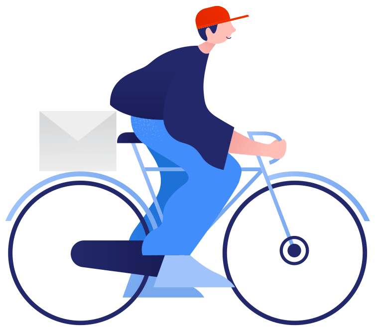 Illustration of man riding a bike delivering mail