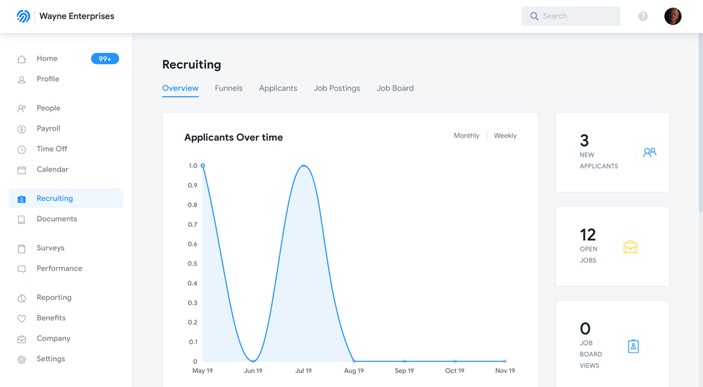 Humi's Recruiting software