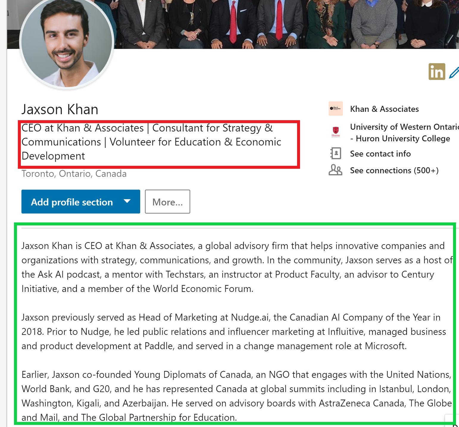 Jaxson Khan LinkedIn profile - after