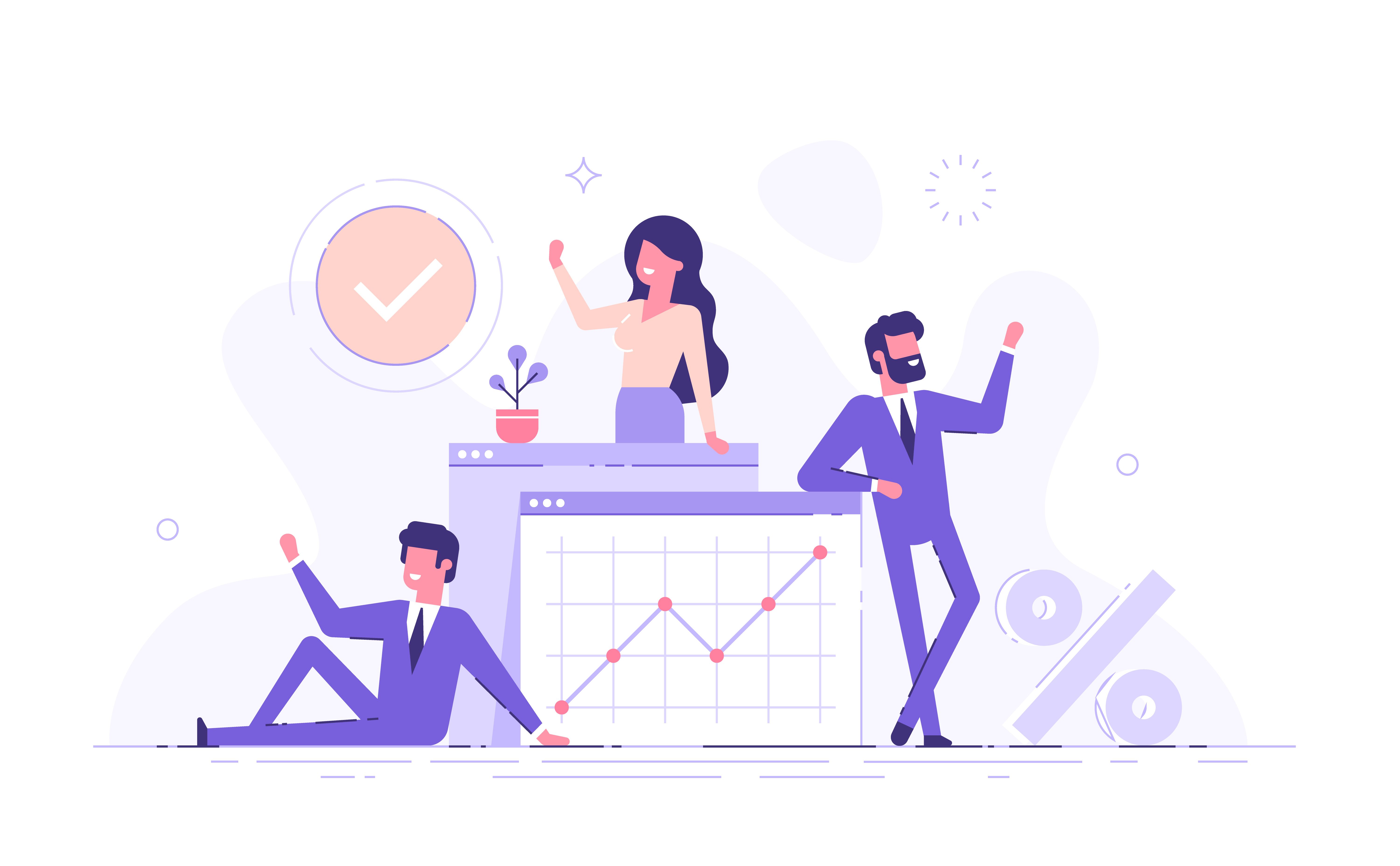 3 employees at a small business with accounting graphs
