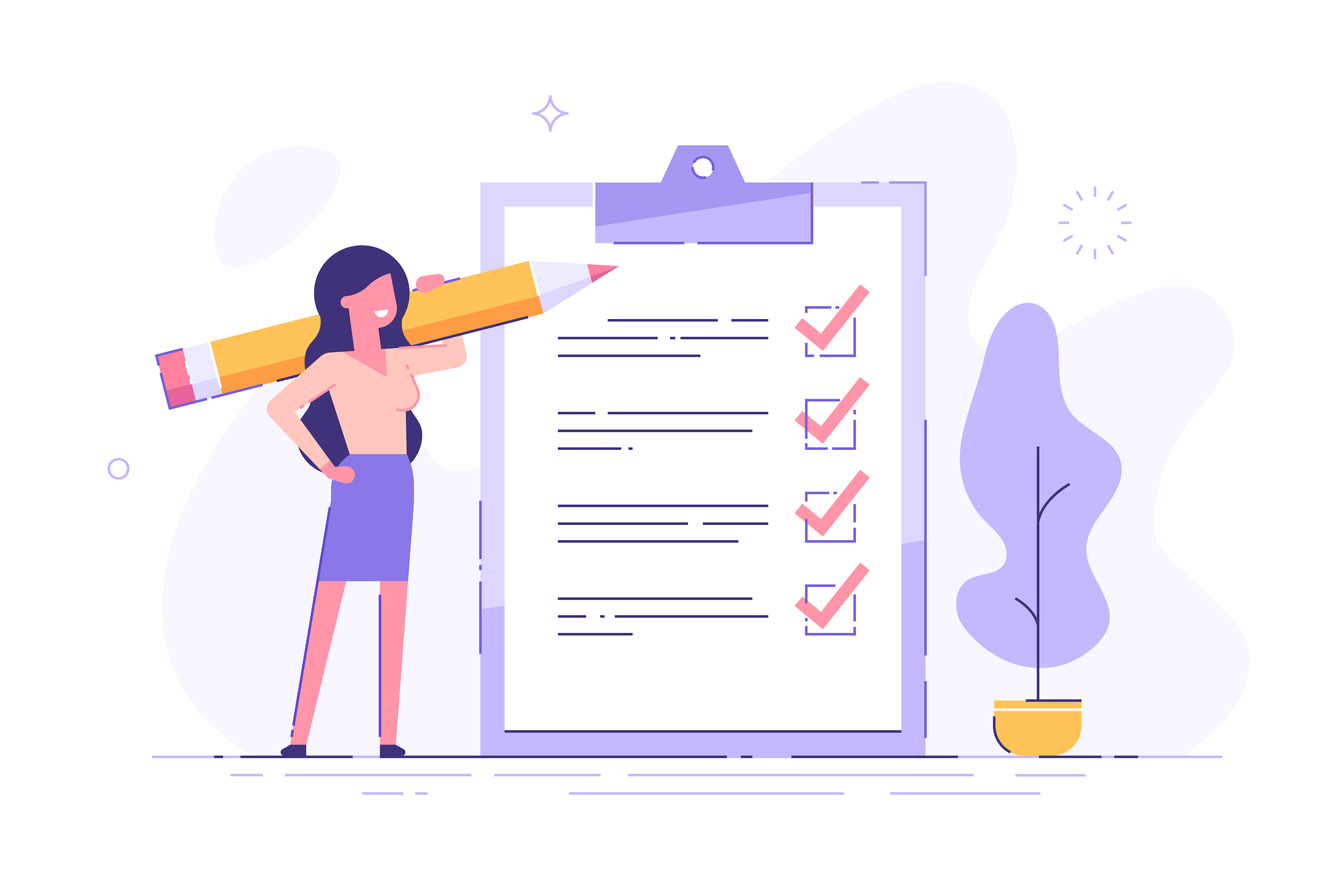 Woman holding a pencail and ticking a checklist for small business services