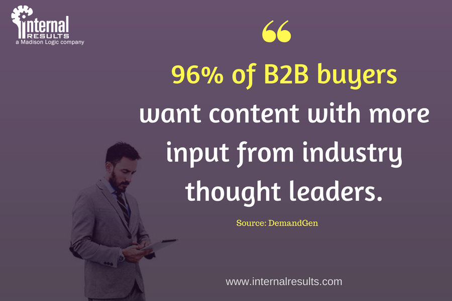 96% of respondentswant content with moreinput from industry thought leaders.